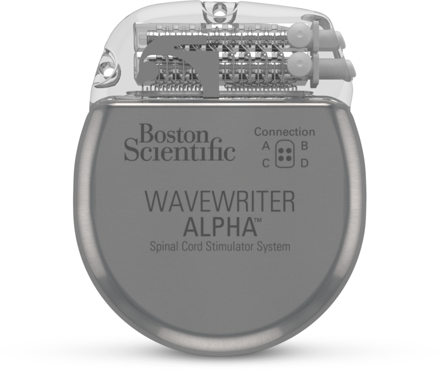 Front view of Boston Scientific's WaveWriter Alpha Spinal Cord Stimulator System.